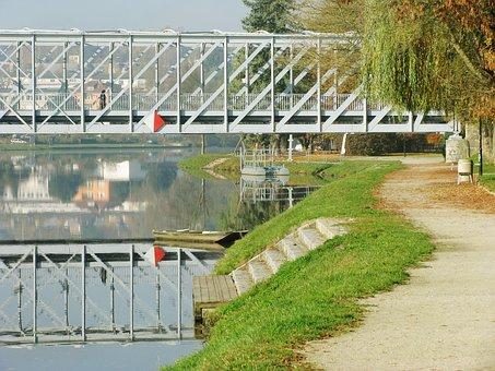 Bridge, Bank, Away, Mirroring, River, Water