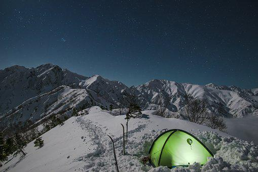 Night View, Snow Mountain, Tent, Mountain Climbing