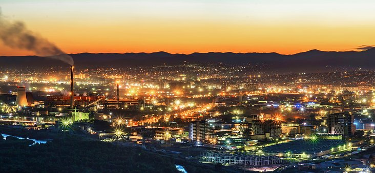 At Dusk, Ulaanbaatar Western, Light, Power Plant