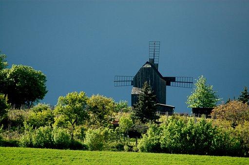 Mill, Windmill, Wooden, Whiffle, Dark Sky, Field, Green