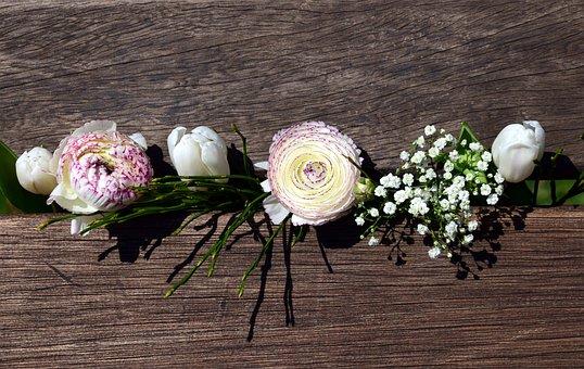 Bouquet, Flowers, Spring, Tulips, Ranunculus, White