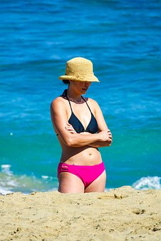 Woman, Beach, Beautiful, Bikini, Sea, Young Women, Yoga
