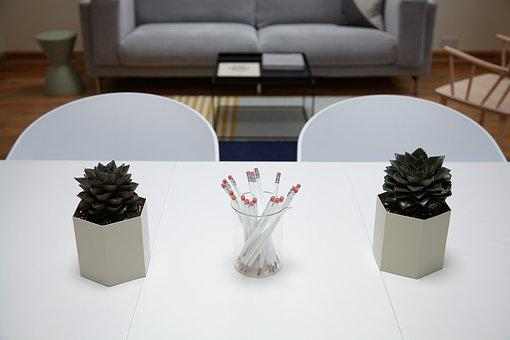 Chairs, Indoors, Pencils, Pot Plants, Room, Table