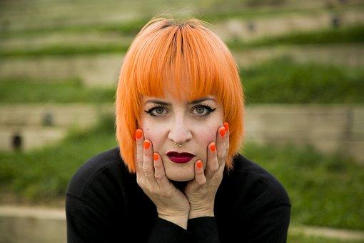 Redhead, Girl, Nail, Eyes