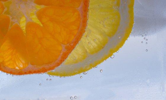 Mandarin, Lemon, Fruit, Discs, Vitamins, Mineral Water