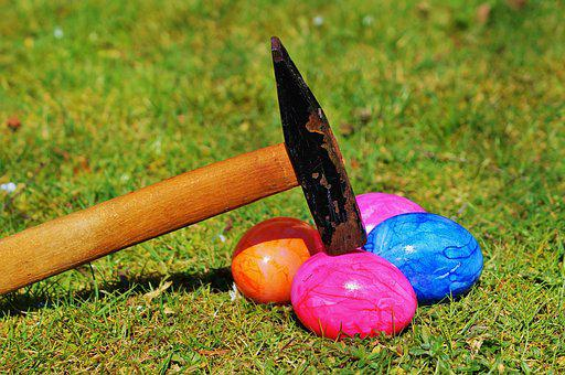 Easter Egg, Rush, Hammer, Open, Meadow, Green, Grass