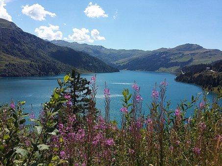 Landscape, Lake, Mountain, Dam Of Roselend, Savoie
