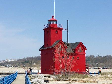 Lighthouse, Big Red, Michigan, Beach, Water