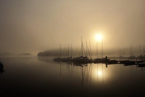 Bostalsee, Morgenstimmung, Fog, Morning Sun, Nature