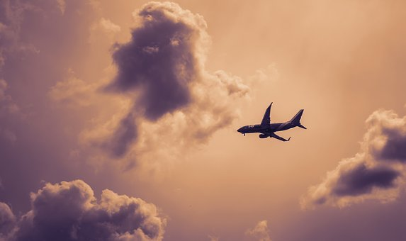 Plane, Airplane, Sky, Clouds, Cloudy, Silhouette