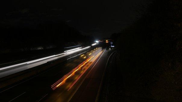 Highway, Night, Shining, Long Exposure, Traffic
