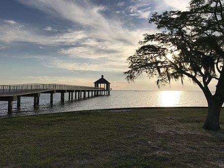 Pier, Lake, Fishing, Sunset, Dock, Coast, Louisiana
