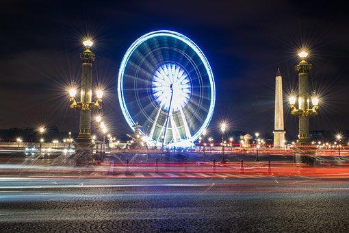 Paris, France, Night, Monument, Tourism, Place, Light