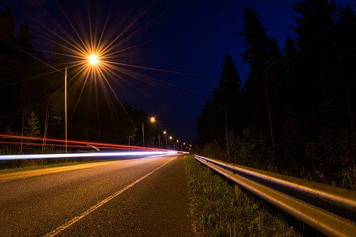 Night, Road, Long Exposure, Street, City, Urban, Light