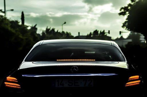 Mercedes, Black, Luxury, Automobile, Vehicle, Car, Hood