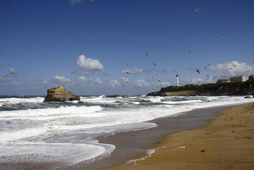 Sea, Beach, Lighthouse, Bay Of Biscay, Sun, Landscape
