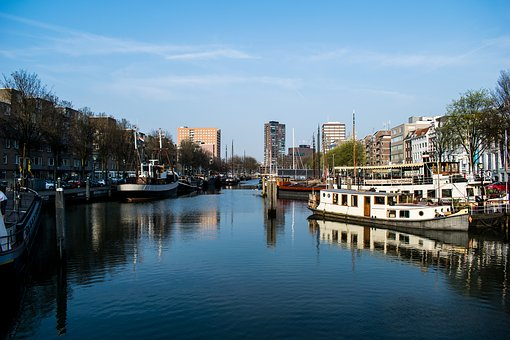 Rotterdam, Harbour, Boats, Buildings, Normal