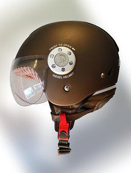 Helmet, Brown, Motorcycle, Accessories, Security