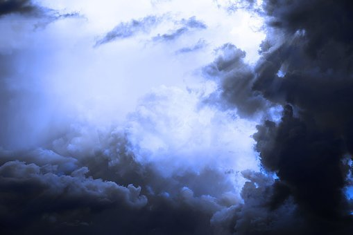 Sky, Clouds, Rays, Spectacle, Blue, Dark Clouds