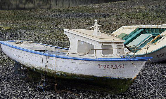 Fishing Boat, Ailing, Ebb, Old, Morsch