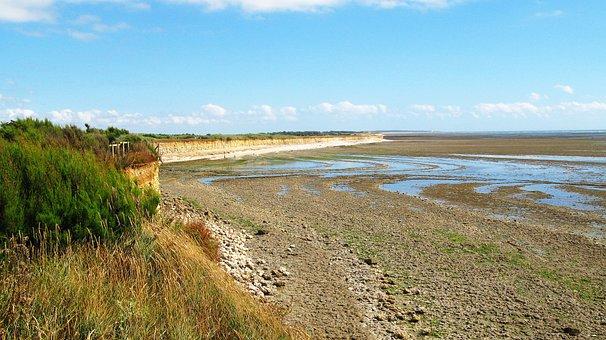 Ebb, Atlantic, Coast, France, Ile D'oleron, Sea