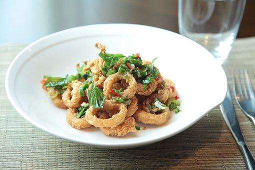 Calamari, Crispy, Fried, Snack, Appetizer, Food, Dish