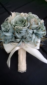 Handmade Bouquet, Bridal Flowers, Jewelled Bouquet