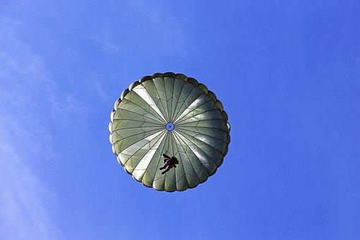 Parachutist, Jump, Aircraft, Parachute, Men, Use