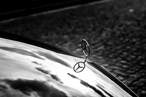 Mercedes, Luxury, Black, Rain, Water, Black And White