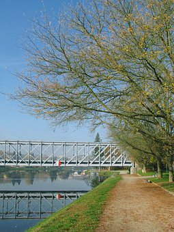 Bridge, River, Water, Mirror Image, Bank, Away, Walk