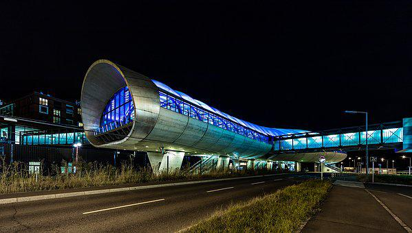 Night Photograph, Railway Station, Lighting, Night