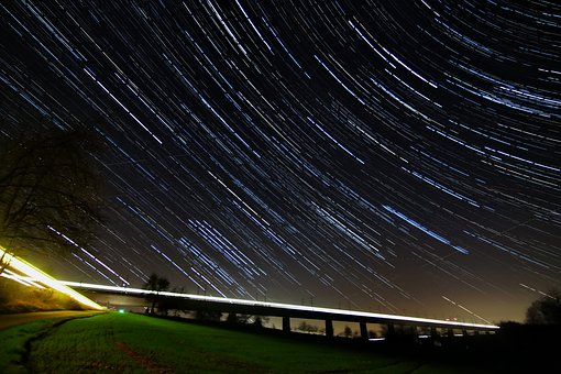 Startrails, Long Exposure, Night, Northern Sky