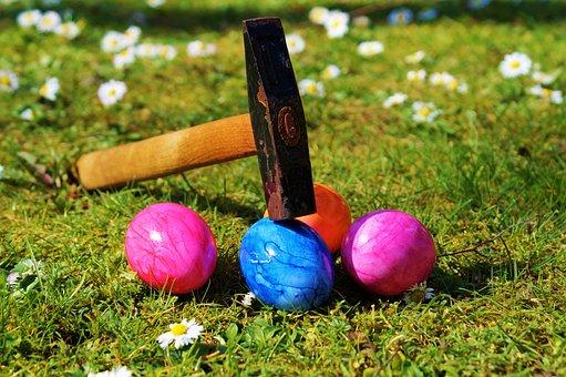 Easter Egg, Rush, Hammer, Open, Meadow, Green, Grass