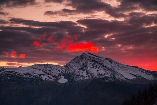 West Glacier, Montana, Snow, Winter, Sky, Clouds