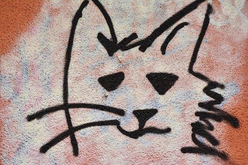 Graffiti, Cat, Hauswand, Street Art, Sprayer
