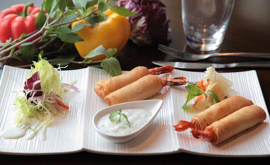 Spring Rolls, Asian, Snack, Chinese, Crispy, Meal, Roll