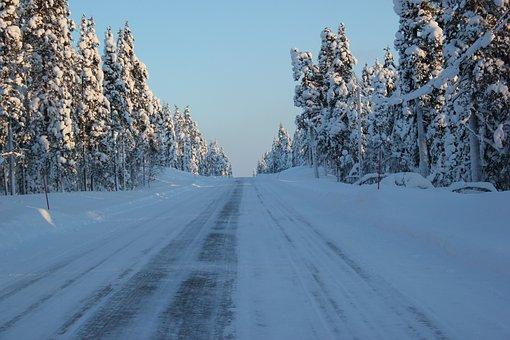 Away, Straight, Wide, Road, Snow, Kilopää, Lapland