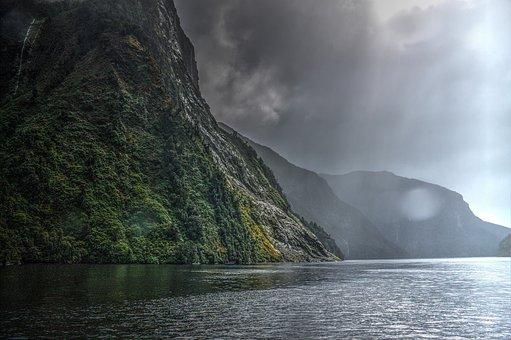 Landscape, Sunbeams, Water, Natural, Clouds