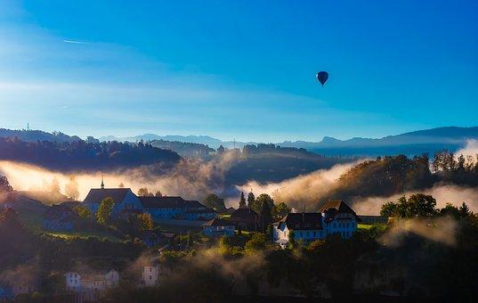 Fribourg, Switzerland, Village, Town, Landscape