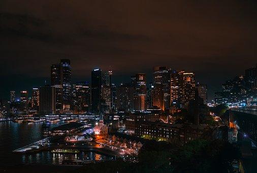 Sydney, Australia, City, Urban, Cityscape, Night