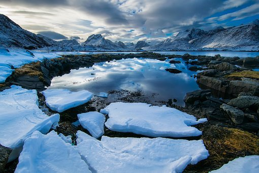 Norway, Fjord, Lake, Water, Ice, Chunks, Landscape