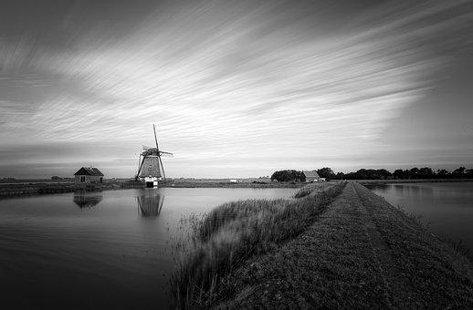 Long Exposure, Windmill, Architecture, Sky, Clouds