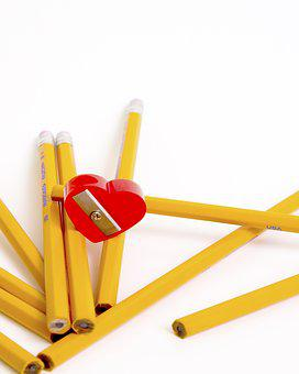 School, Pencils, Heart, Education, Yellow, Red, Design