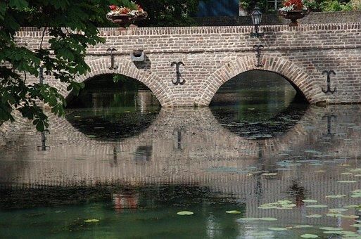Bridge, Mirroring, Reflections, Atmosphere, Old