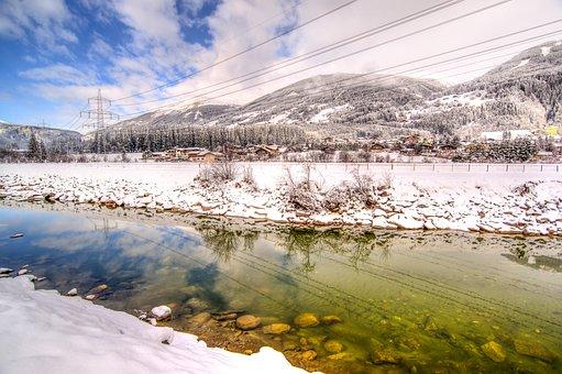 River, Austria, Winter, Hdr, Cold, Snow, Mountain