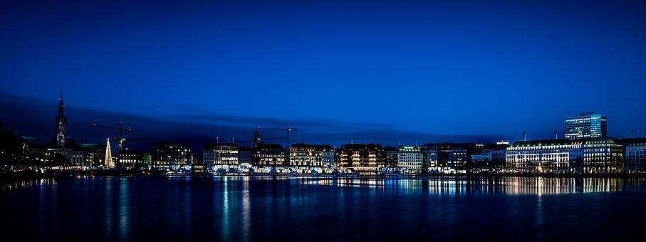 Hamburg, Binnenalster, Jungfernstieg, Blue Hour