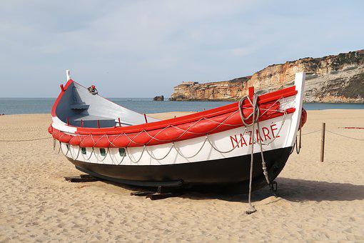 Nazareth, Portugal, Boat, Beach, City, Summer, Sand