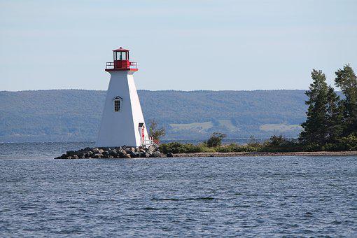 Lighthouse, Baddeck, Cape, Breton, Landscape, Summer