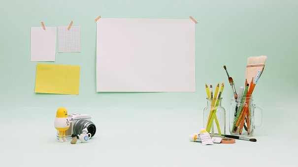 Draw, Paint, Note, Desk, Doll, Brush, Colorpencil