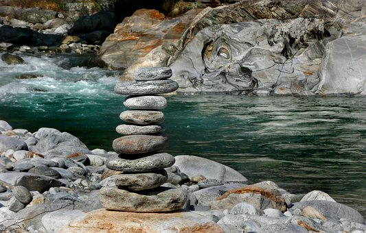 Cairn, White Water, Rock, Maggia Valley, Ticino